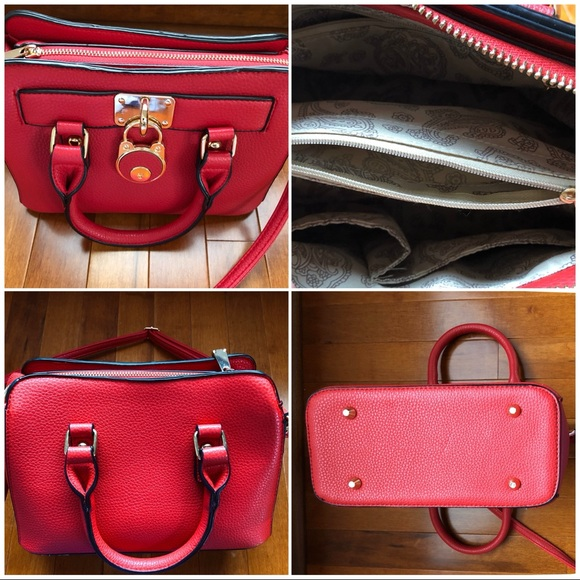 Red Vegan Leather Satchel with Handles and Strap